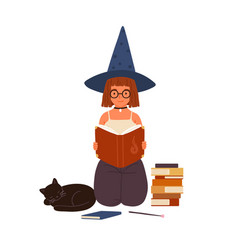 cute girl in witch hat read magic book portrait vector image