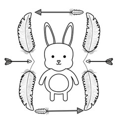 Cute little rabbit with feathers and arrows frame vector