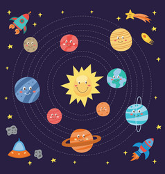 cute planets drawing for children - cartoon galaxy vector image