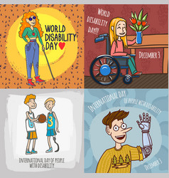 Day persons disabilities banner set hand drawn vector