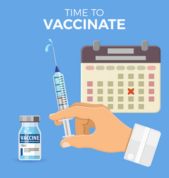 doctor holding syringe in hand vector image