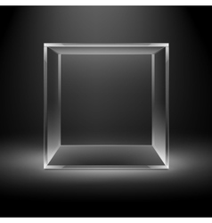 Empty Glass Box Cube on Black Background vector