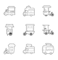 fast food truck icons set outline style vector image