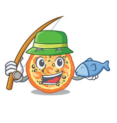 Fishing seafood pizza in mascot shape vector