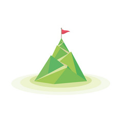 flag on the mountain peak way vector image