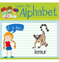 Flashcard letter L is for lemur vector