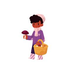 Flat girl collecting mushrooms in basket vector