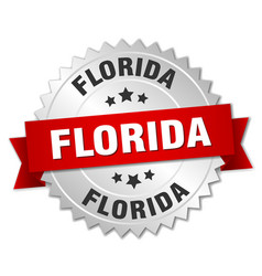 Florida round silver badge with red ribbon vector