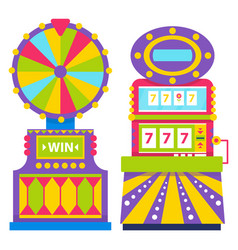 fortune wheel and slot machine with sevens number vector image