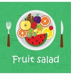 Fruits background in flat style Colorful template vector