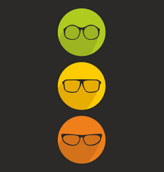 glasses icon set isolated on black background vector image