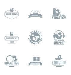 Globe logo set simple style vector