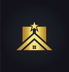 Gold home icon star realty logo vector