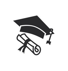 graduation hat diploma icon in modern style for vector image
