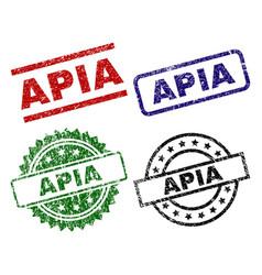 Grunge textured apia stamp seals vector