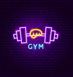 gym neon label vector image