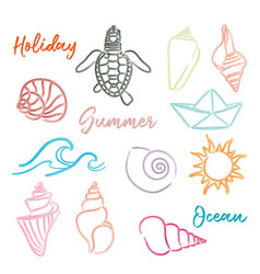 Hand drawn doodle watercolor seashells and sea vector