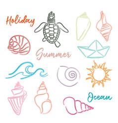 hand drawn doodle watercolor seashells and sea vector image