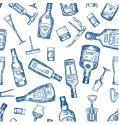 Hand drawn seamless pattern with various alcohol vector