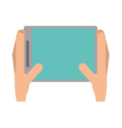 Hands holds tablet touchscreen trendy vector