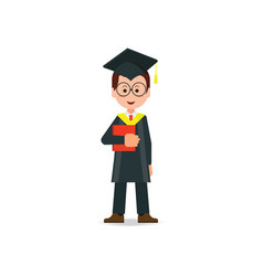 Happy student graduated wearing mortar board hat vector