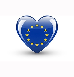 Heart-shaped icon with national flag of Europe vector