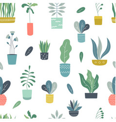 Houseplants seamless pattern abstract geometric vector