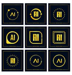 Initial letter ai logo set design vector