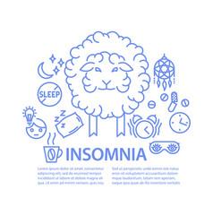 insomnia line art banner vector image