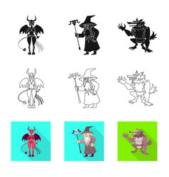 Isolated object mystic and hell sign set vector