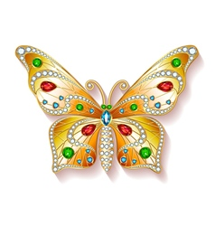 Jewelry gold butterfly in gems Beautiful decoratio vector