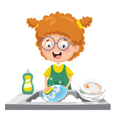 kid washing dishes vector image