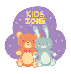 Kids zone teddy bear and cute rabbit toys vector