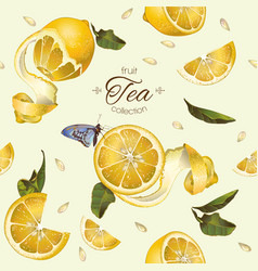 Lemon tea seamless pattern vector