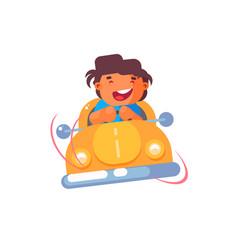 Little boy in car vector