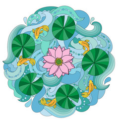 lotus and fishes on wave background vector image