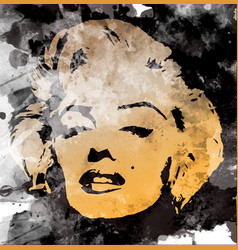 marilyn monroe diva portrait watercolor style vector image