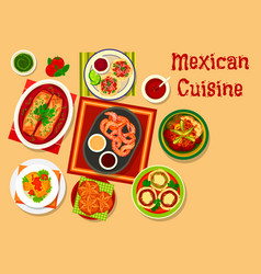 Mexican cuisine traditional lunch dishes icon vector