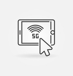 mouse click on tablet with 5g linear icon vector image