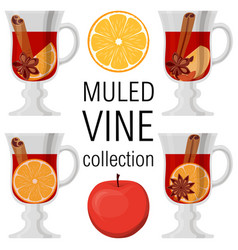 Mulled wine collection poster on white background vector