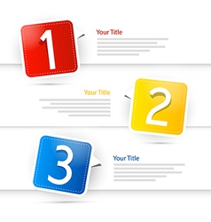 One two three colorful paper progress steps for vector