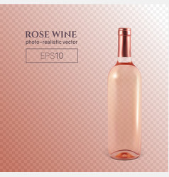 photorealistic bottle of rose wine on a vector image