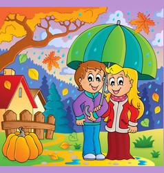 rainy weather theme image 2 vector image