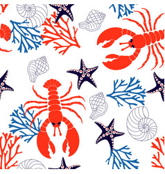 sea pattern with lobster vector image