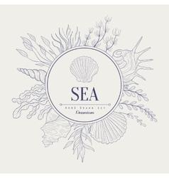 Sea vintage sketch vector
