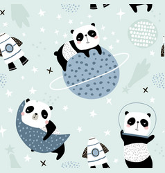 seamless childish pattern with slepping pandas on vector image