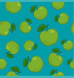 seamless pattern apple on azure background vector image