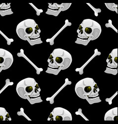 seamless pattern with bones and skulls vector image