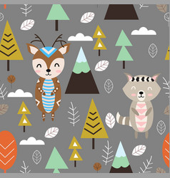 Seamless pattern with deer and raccoon in forest s vector