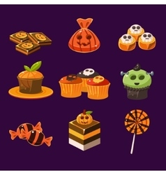 set colorful halloween sweets and candies vector image